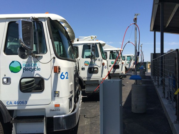 Paso Robles Waste's new Autocar Xpeditor trucks time-fill at the new 3G CNG facility in Paso Robles, Calif. by Revolution CNG.